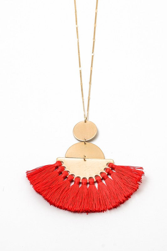 Geometric Fringed Pendant Necklace