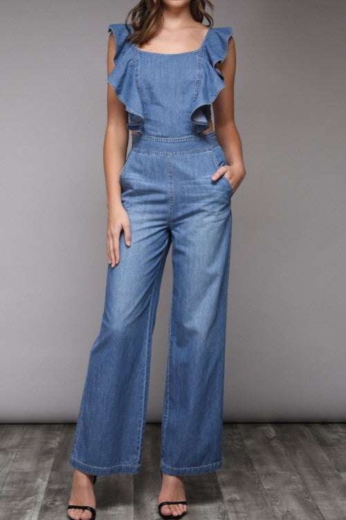 Ruffle Denim Tie Back Jumpsuit