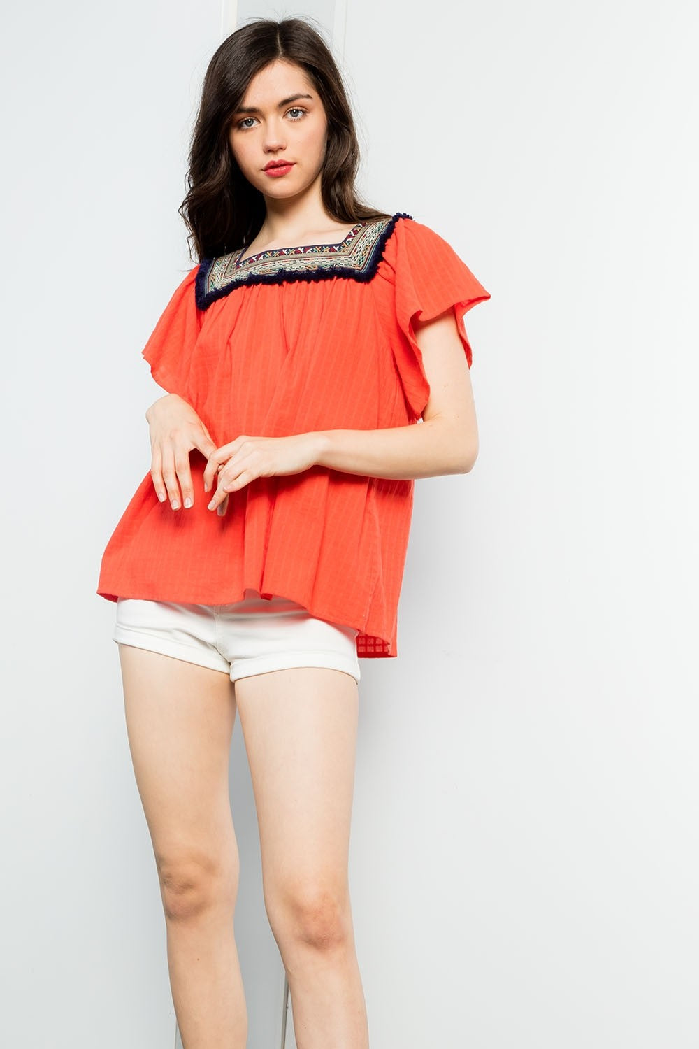 Ruffle Sleeve Top with Embroidered Neckline