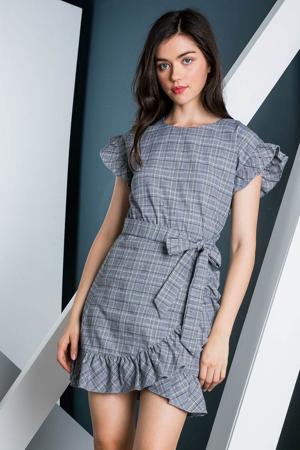 Ruffled Sleeveless Wrap Dress