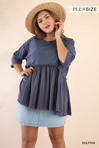 Curvy Girl Ruffled Hem Top