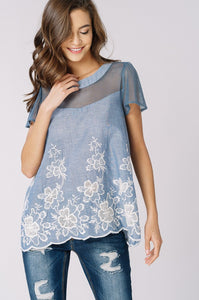 Sheer Contract Embroidered Short Sleeve Top