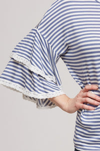 Striped Top with Ruffle Laced Sleeves