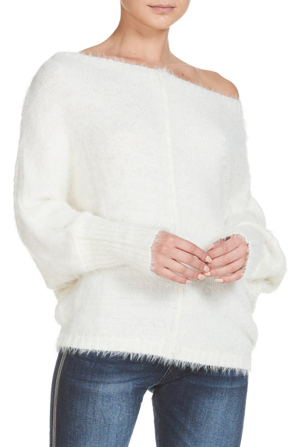 Off The Shoulder Fuzzy Sweater