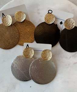 Leather & Gold Circle Earrings