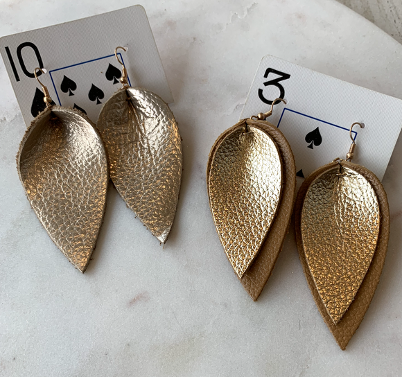 Gold Leather Teardrop Earring