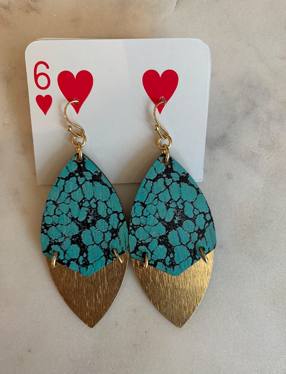 Reversible Turquoise/ Wood Tear Shaped Earring