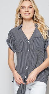 Striped Knot Button Down Top