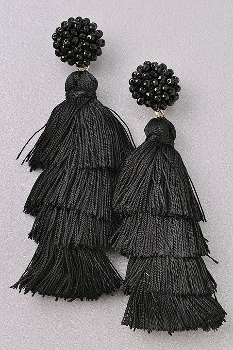 Seed Bead and Tassel Earrings