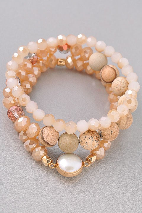 Stacked Stretch Bead Bracelets