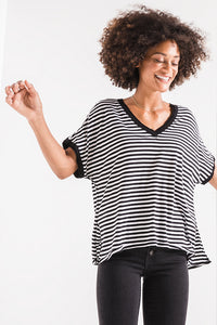 Stripe Boyfriend V-Neck