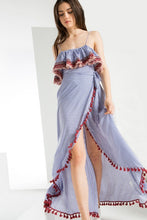 Stripe Ruffle Maxi Dress with Red Tassel Trim