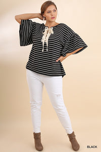 Curvy Girl Striped Bell Sleeve Top