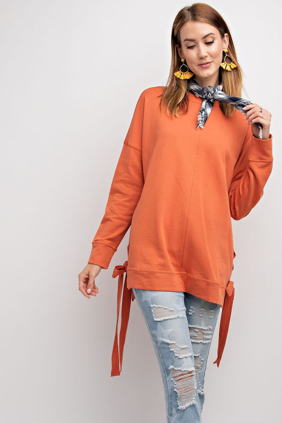 Terry Knit Lace Up Pullover
