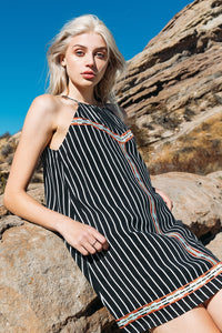 Halter Stripe Dress with Embroidery