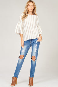 Striped Double Layered Sleeve Top