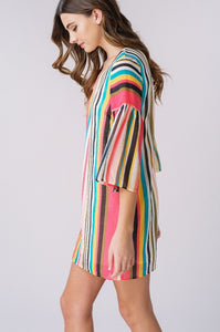 Tropical Striped Bell Sleeve Shift Dress