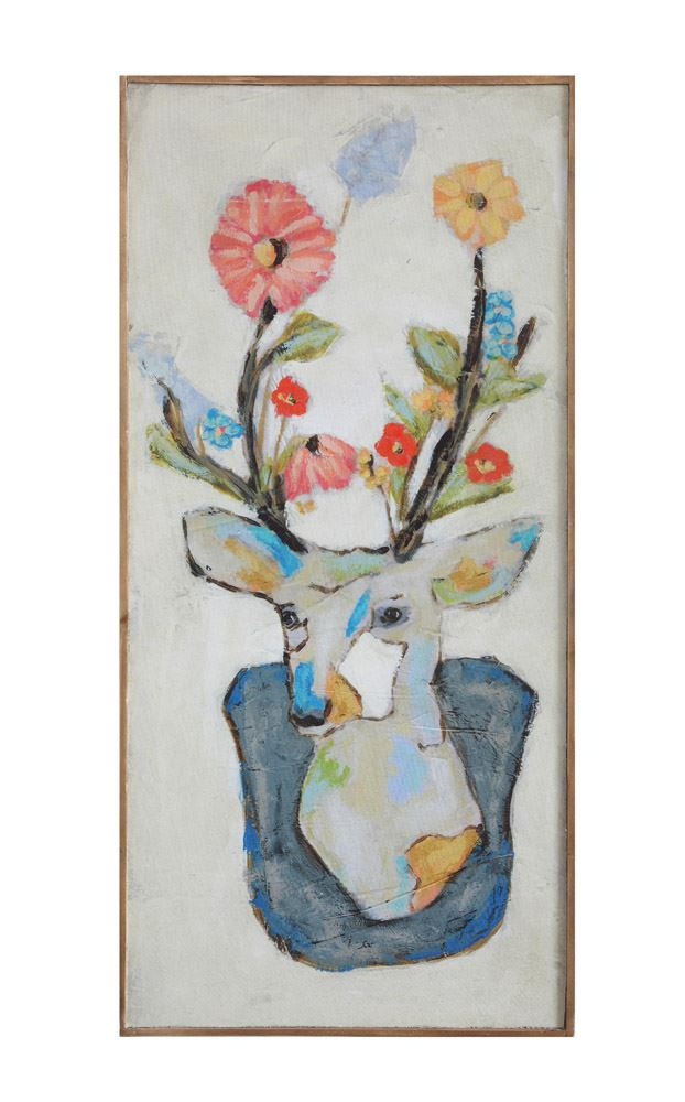 Greige Baby Deer & Flowers Wall Decor