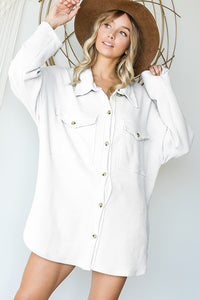 Oversized Shirt Top with Big Chest Pockets