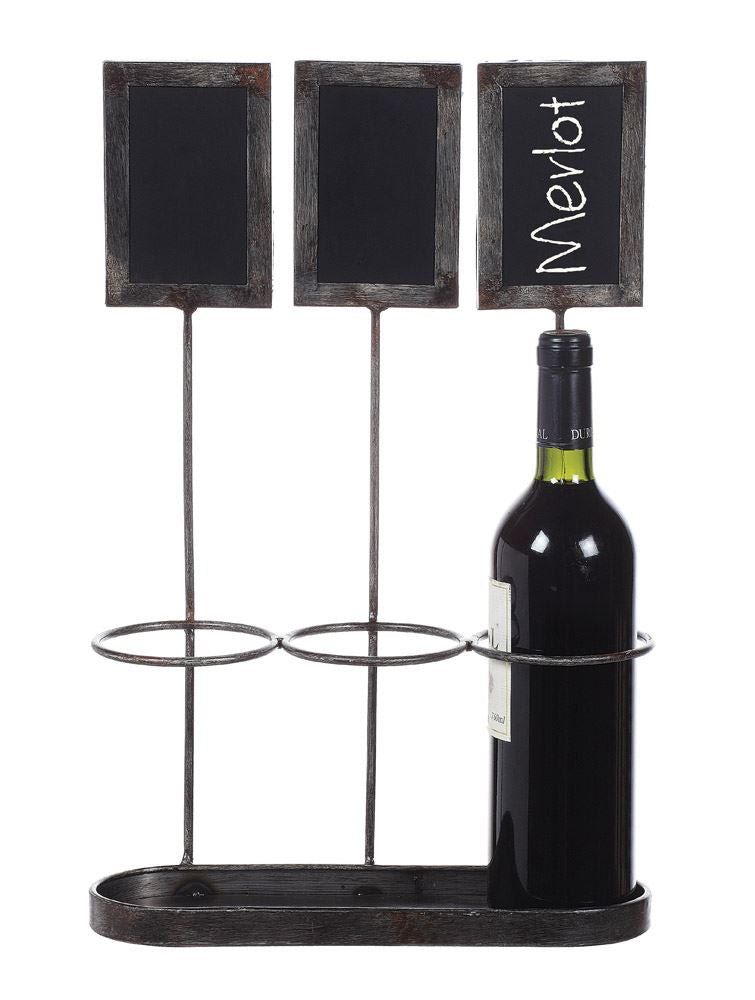 Metal Wine Bottle Holder w/ Chalkboard