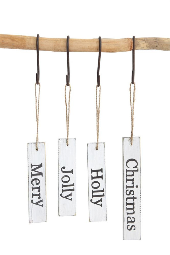 Wood Tag w/ Holiday Word Ornament