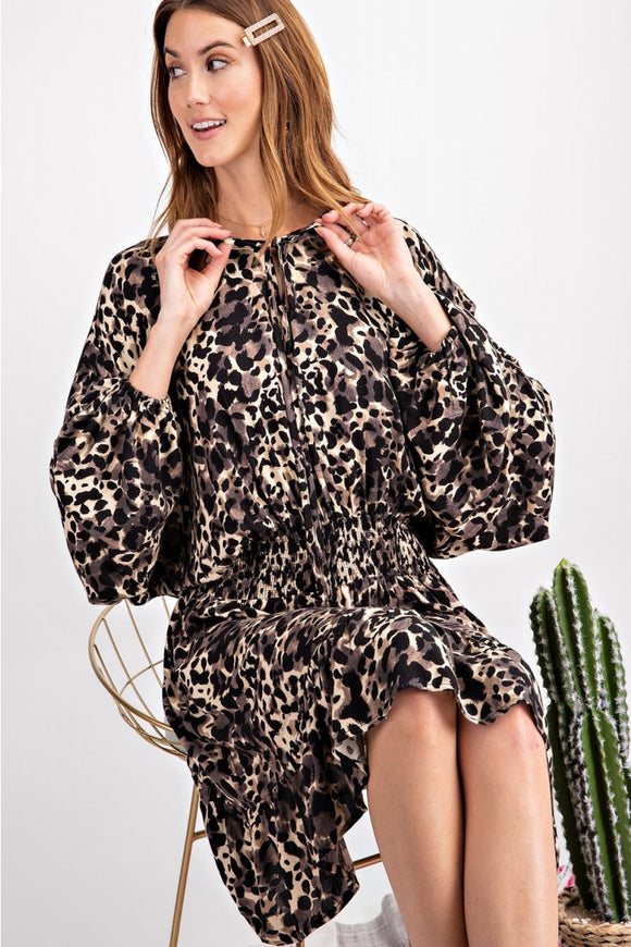 Long Sleeve Leopard Smocked Dress