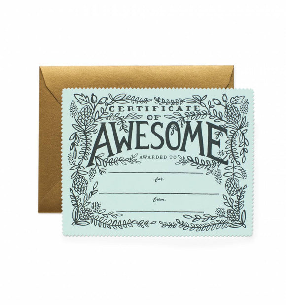 Certificate Of Awesome Card