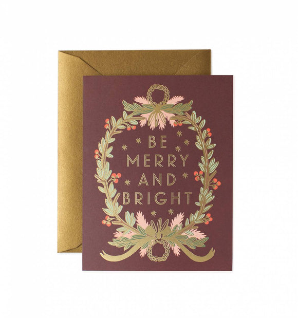 Be Merry and Bright Wreath Card