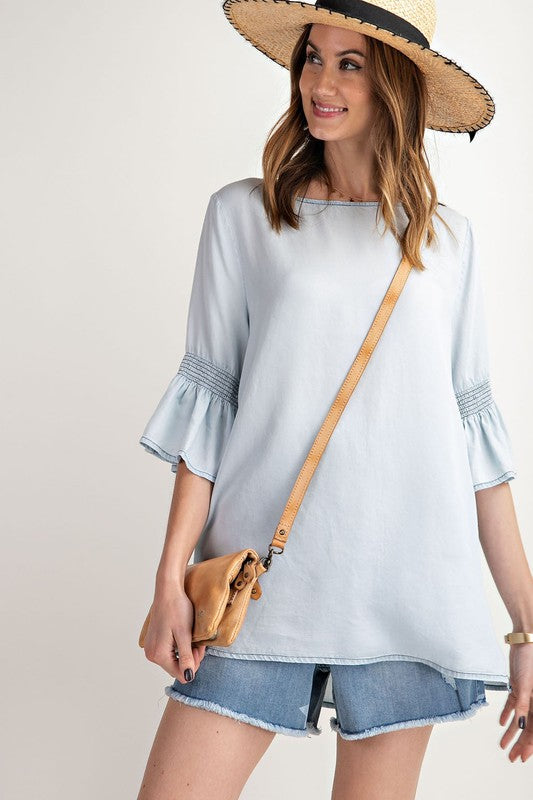 Bell Sleeve Light Wash Denim Tunic