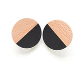 Wood and Resin Circle Post Earrings