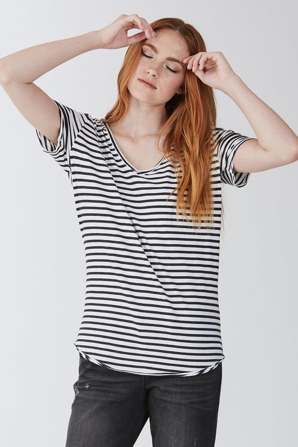 Emma Stripe Double V-Neck Tee
