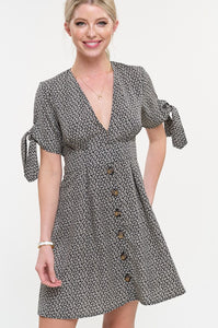 A-line Button Down Floral Dress