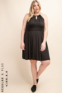 Halter Fit And Flare Dress