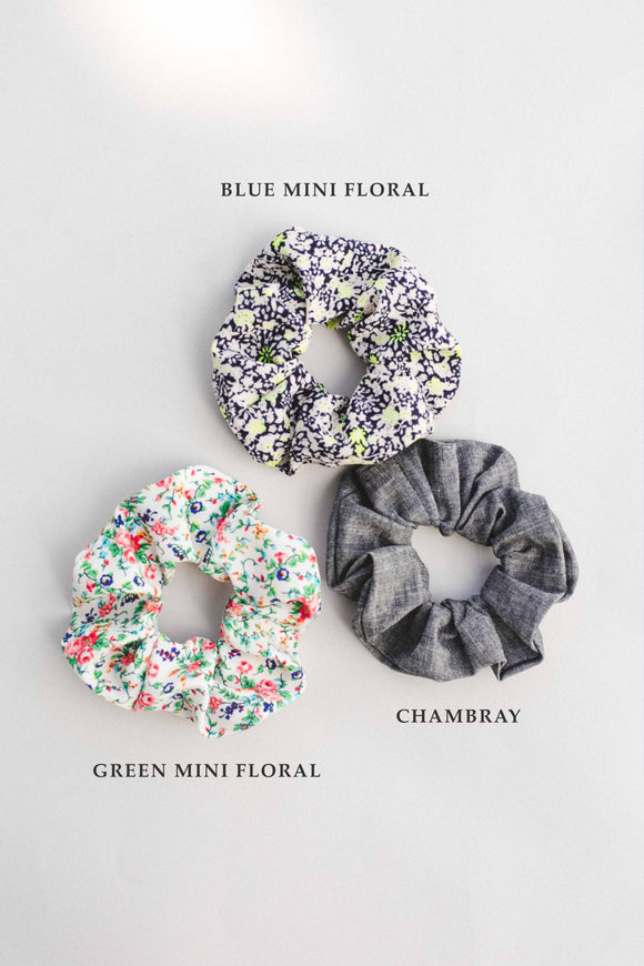 Blue Floral Scrunchies