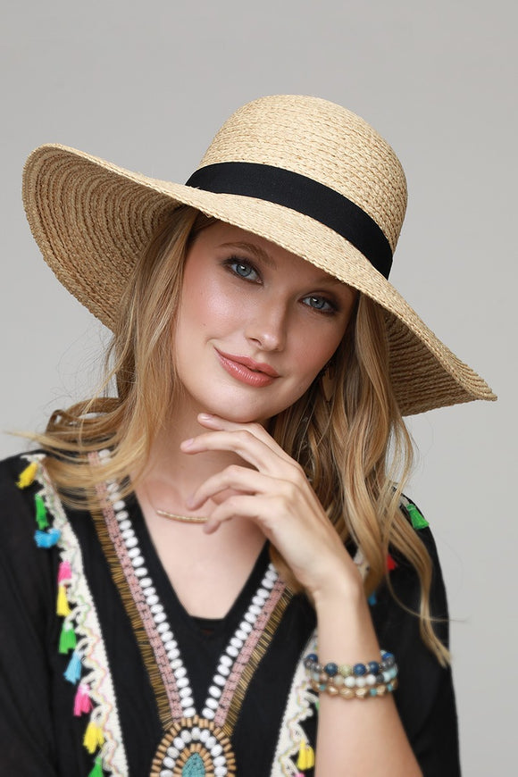 Wide Bow Straw Hat