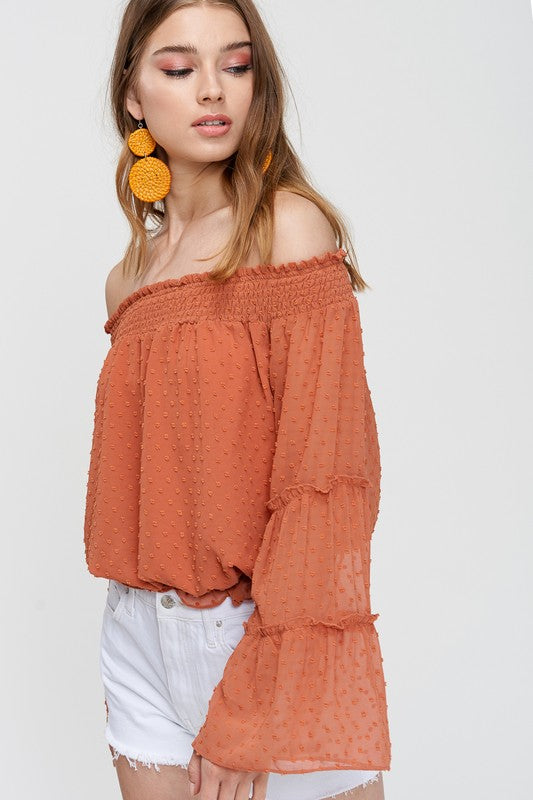 Romance Ruffle Off The Shoulder Top