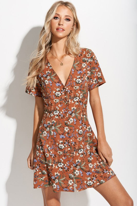 Misty Floral Button Front Dress