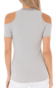 Rylan Ribbed Cold Shoulder Top