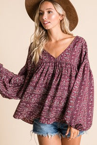 Billow Long Sleeve Bohemian Print Top