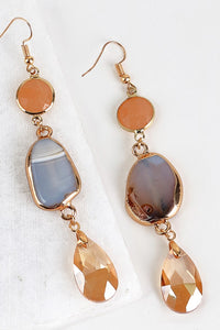 Electroplated Natural Stone Earrings