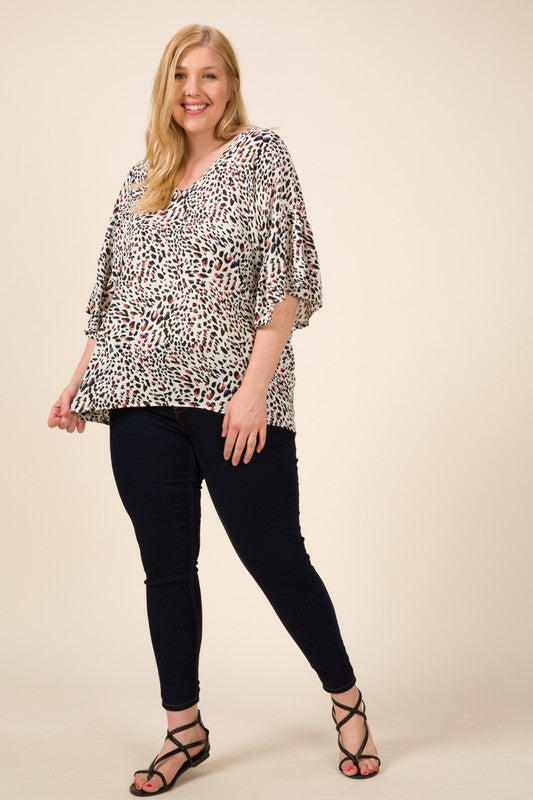 Curvy Girl Colorful Leopard V-Neck