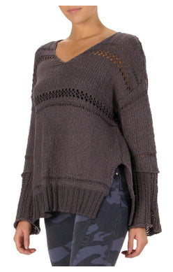 Crochet Stripe V-Neck Sweater
