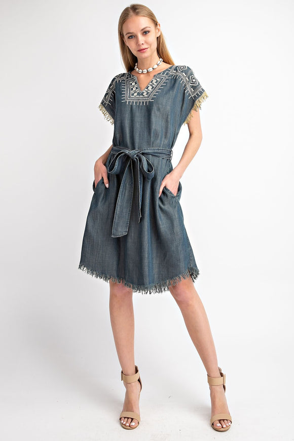 Embroidery Washed Denim Dress