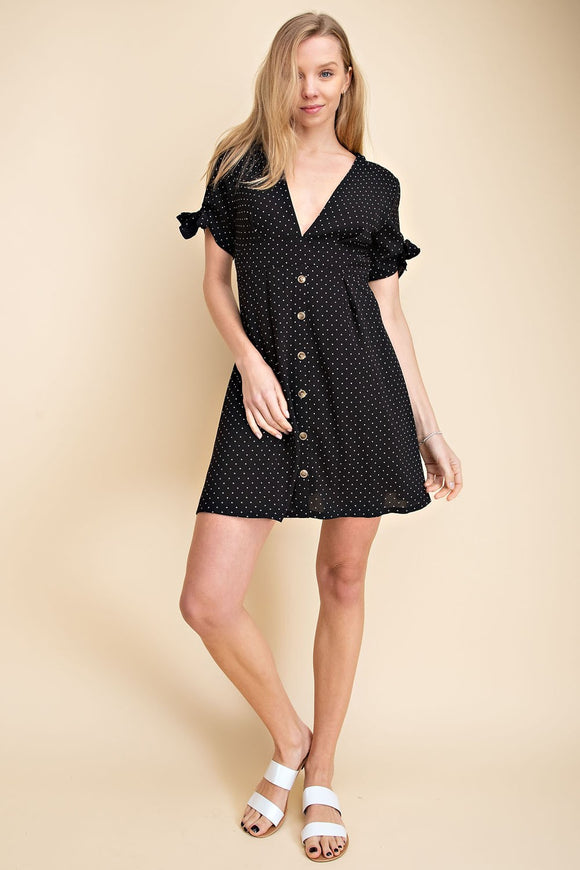 Dotted Slitted Tie Sleeved Dress