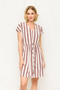 Washed Drawstring Waist Dress