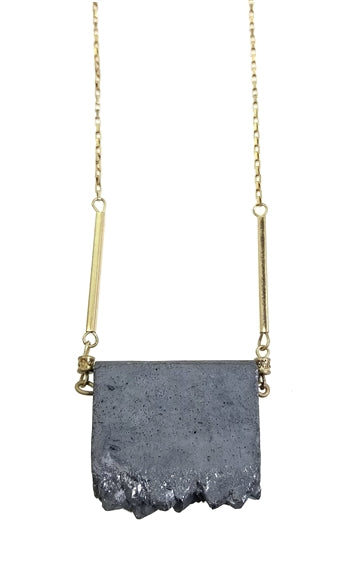 Sliced Pyrite Druzy Necklace