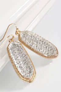 Glitter Stone Accented Oval Hook Earrings