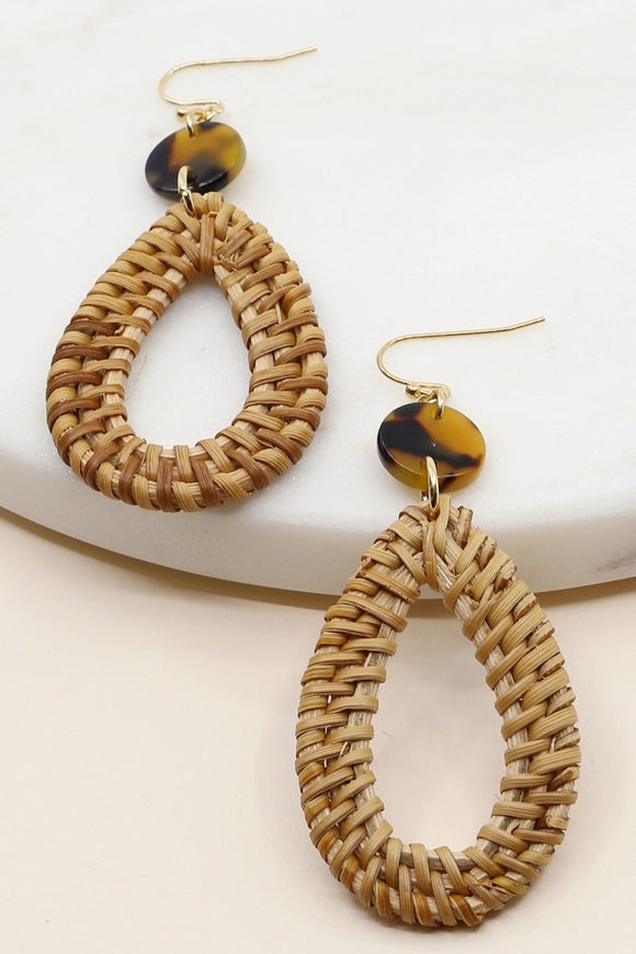 Resin & Rattan Tear Drop Earrings