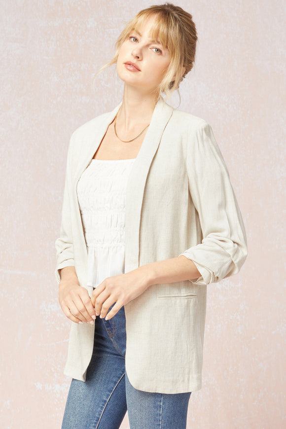 Shirred Sleeve Linen Blazer