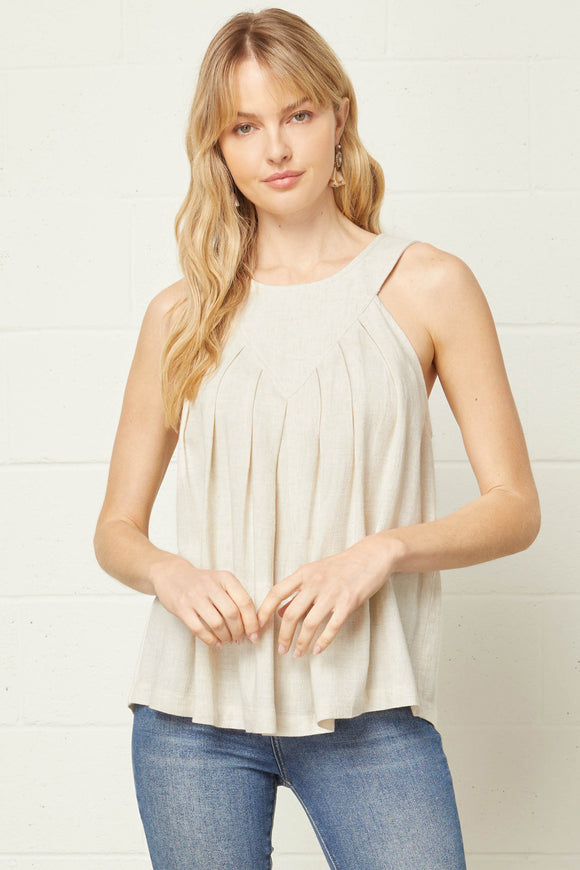 Round Neck Linen Halter Top